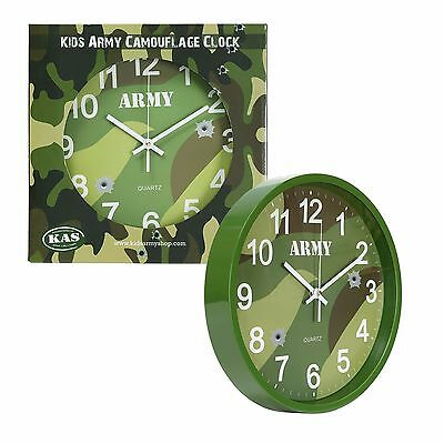 Kids Army Camouflage Bedroom Wall Clock - Kids Army Bedroom Ideas
