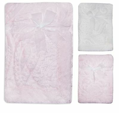 Baby Girls Boys Unisex Super Soft Faux Fur Embossed Paisley Boutique Blanket