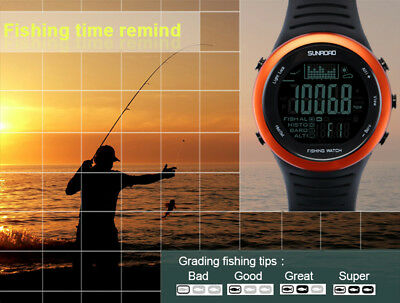 SUNROAD FR720 Fishing Barometer Watch 5ATM Altimeter Thermometer WeatherPredict
