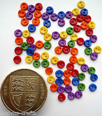 MICRO PRIMARY COLOURS 4mm Mini Craft Buttons Baby Dolls Tiny Sewing Small Round