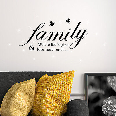Swarovski Crystals & Family Quotes Murals Decals Home Decoration Wall Stickers