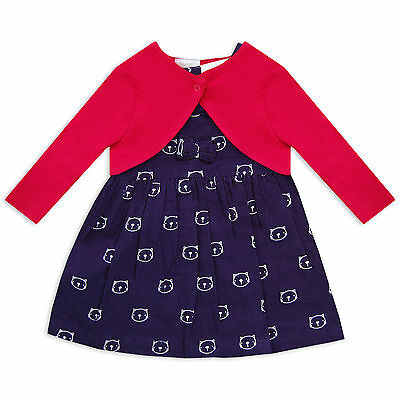 Baby Girls 2 Piece Dress and Shrug Cardigan Set with a Cute Cat Motif in Navy