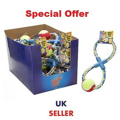 PET PETS DOG DOGS TOY TOYS TUG ROPE WITH BALL FIGURE OF 8 TUG OF WAR UK new