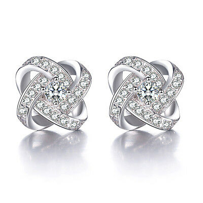 Hot Fashion Solid 925 Sterling Silver AAA CZ Eternal Star Ear Stud Earrings Gift