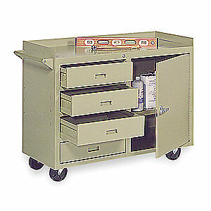GRAINGER APPROVED Steel Mobile Service Bench,22 In. L,45 In. W, 4YW41, Putty