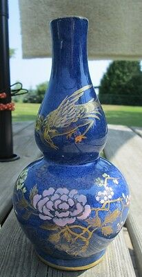 ANTIQUE circa 1905 DOUBLE GOURD VASE w CHINOISERIE Art Pottery STUNNING!