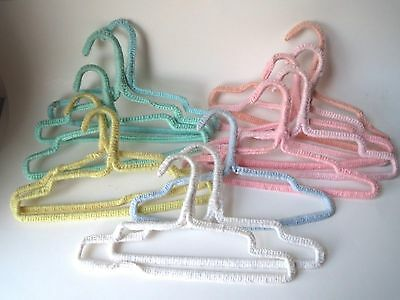 13 Vintage Kids Clothes Crochet Knit Hangers Yarn Covered Retro Pink Yellow