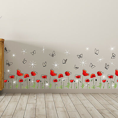 Swarovski Crystals & Poppy Flowers Skirting Decals Home Decoration Wall Stickers