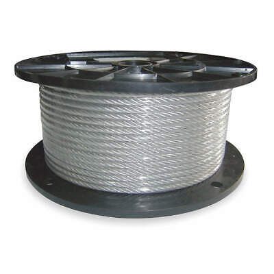 DAYTON 304 Stainless Steel SS Cable,1/4 In,250 Ft,1280 lb. Capacity, 1DLC7
