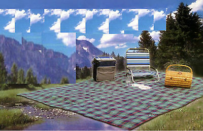 LARGE Family PICNIC BLANKET Waterproof Backed Tartan RUG Outdoor Travel Camping