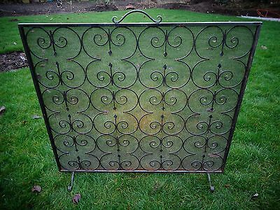 Vintage Wrought Iron Fire Guard / Spark Screen