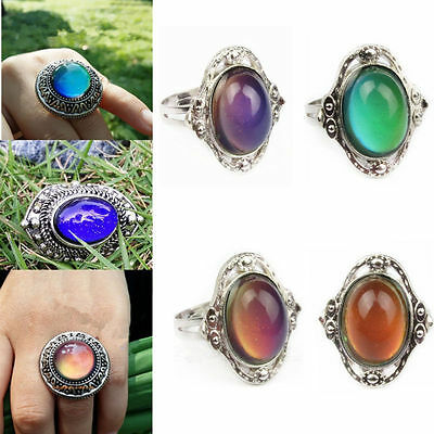 1pc Women Jewelry Changing Color Temperature Control Mood Ring Adjustable New