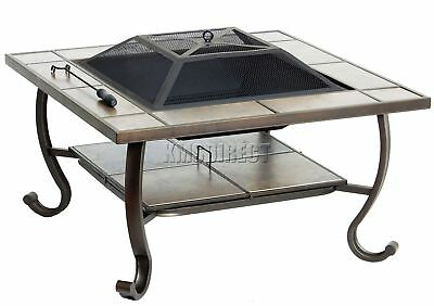 FoxHunter Garden Steel Fire Pit Firepit Brazier Square With Tile Table FP-04 BBQ