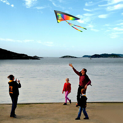 120*60CM Childrens Kids Colored Rainbow Kite with Stripe Board Outdoor Beach Toy