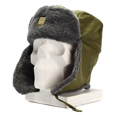 Genuine Czech army cap military winter hat Ushanka grey olive hat with badge NEW
