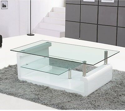 Coffee Table High Gloss White With Clear Glass Top
