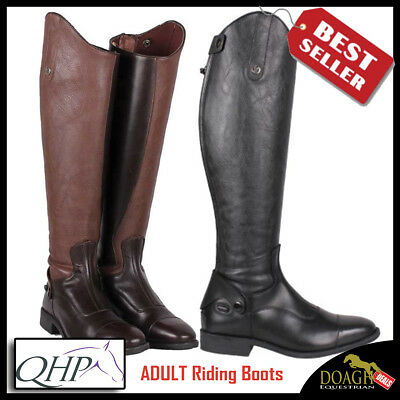 QHP Birgit Long Leather Riding Boots with Elastic Shaft Adults Black and Brown