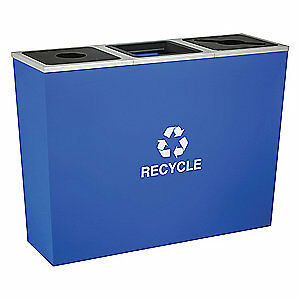 TOUGH GUY Steel, Plastic Recycling Container,Blue,54 gal., 5UJE9, Blue