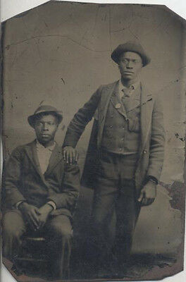 Stunning   Very Rare Tintype Portrait Of Two Affectionate African American Men