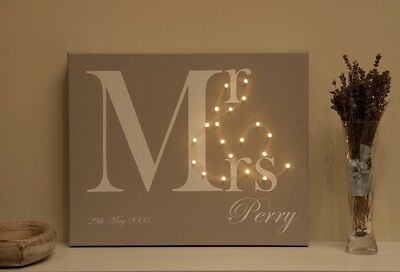 Led Illuminated Canvas, Personalised Valentine Present Birthday Gift For Her/him