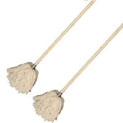 2 x Pure Cotton String Mop Head Steel Socket Refill & pole cleaning floor sweep