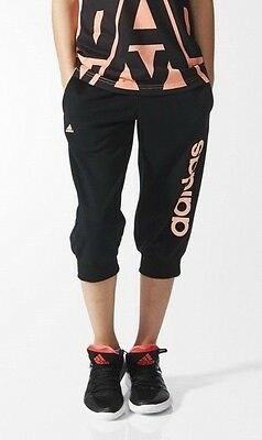 Adidas girls black 3/4 tracksuit bottoms. jogging bottom. Track pant. 3-14 years