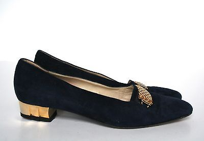 UK 5.5 Bally Black Suede Leather Vintage Shoes / Pumps - Gold Heels - 38.5