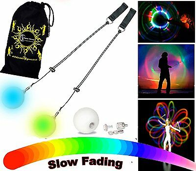 Flames N Games LED Glow Poi - Multi-Colour / Slow Fade + Travel Bag!