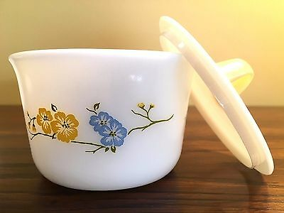 Set of 4 PYREX Custard Pudding Cups Dishes Blue Yellow Flower with Lid EUC
