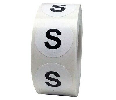 Retail Apparel White Round Clothing Size Stickers Adhesive Labels Small (S) Roll