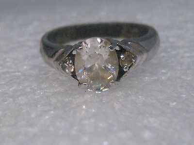 Vintage Silver Tone Clear Oval Stone Engagement Style Ring, size 6.5