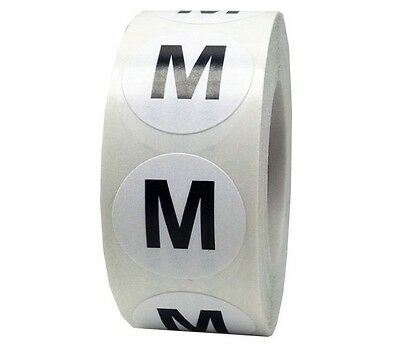 Retail Apparel White Round Clothing Size Stickers Adhesive Labels Medium M