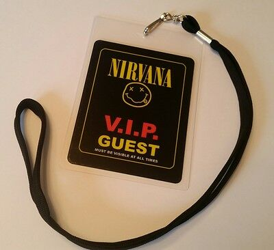 Nirvana  Back Stage Pass 2-sided!  Signatures + Lanyard  LOOK!! nice!