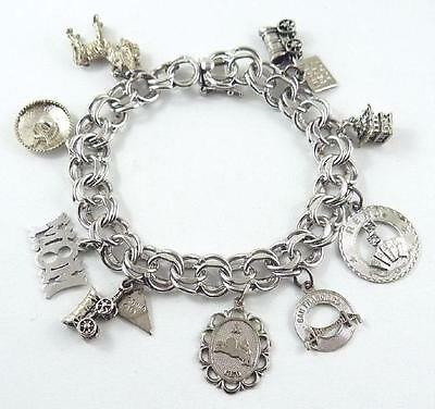 Vintage Sterling Silver Charm Bracelet With Safety Clasp 9 Charms