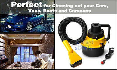 Portable Car Vehicle Auto Dust Handheld Vacuum Cleaner Wet & Dry 12V Yellow