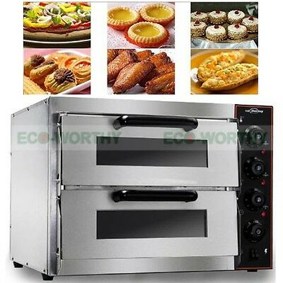 "New 220V 16"" Commercial Double Electric Pizza Oven Pizza Bread Making Machines"