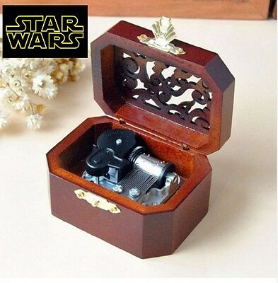 WOODEN OCTAGON CARVING MUSIC BOX : Star Wars - The Force Theme