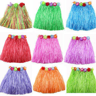 Ladies Women Hawaii Fancy Dress Grass Skirt Hula Hawaiian Full Charming ft