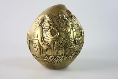 Vintage Chinese Brass Hand Carved 8 Immortals Pattern Peach Figure Paperweight