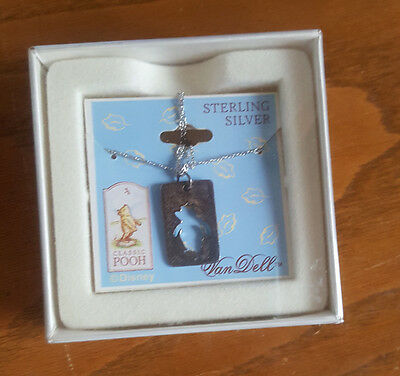 Vtg Disney Van Dell Sterling Silver Winnie The Pooh Silhouette Necklace