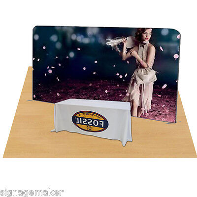 20ft Straight Fabric Tension Display Wall System With Graphic Print +Table Throw