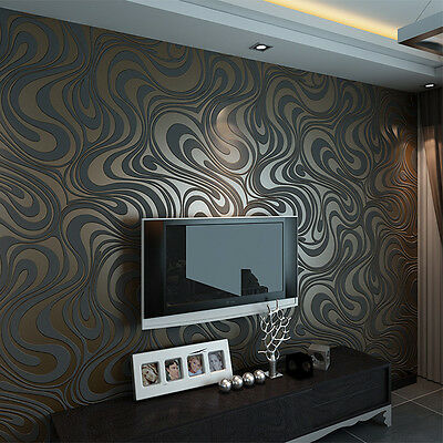 Modern Luxury Abstract Curve 3D Wallpaper Roll Mural Parede Flocking Paper Decor