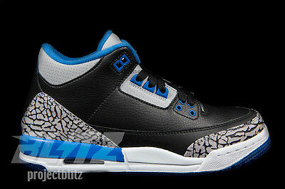 wholesale dealer 39d9c dff7f AIR JORDAN 3 RETRO BG GS SPORT BLUE BLACK Sizes 5y-7y WOLF GREY 398614