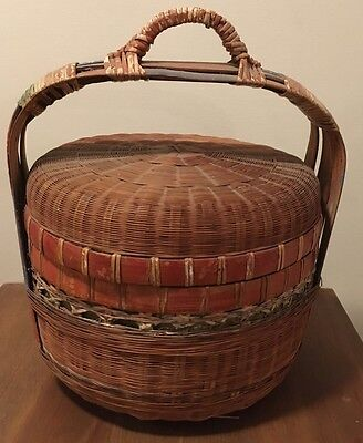 "Antique AAFA Signed Hand Painted Wedding Storage Basket Lidded Sturdy 14"" Tall"