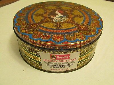 Hostess (Continental Baking) Holiday Fruit Cake Tin (8 1/4 Inches With Label)