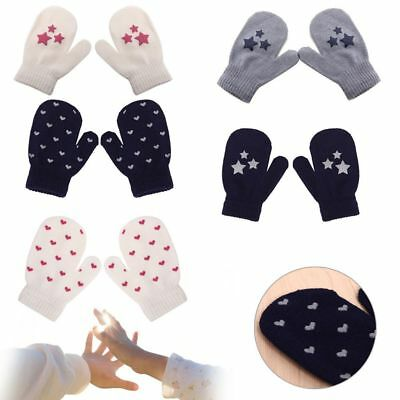Soft Dot Star Heart Pattern Mittens Kids Boys Girls Soft Knitting Warm Gloves