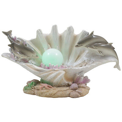 Tropical Dolphin on Clam Shell LED Light Nightlight Statue Beach Decor Gifts