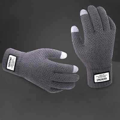 Winter Mens Warm Knitted Full Fingers Touch Screen Gloves for Smart Phone Tablet