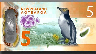 NEW NEW ZEALAND $5 DOLLARS BANKNOTE -Polymer