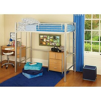 twin loft bed with ladder metal frame bunkbed kids silver color